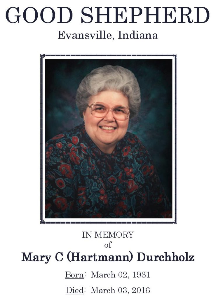 2016-03-08 Funeral Pic - Mary C (Hartmann) Durchholz - Narthex Pic