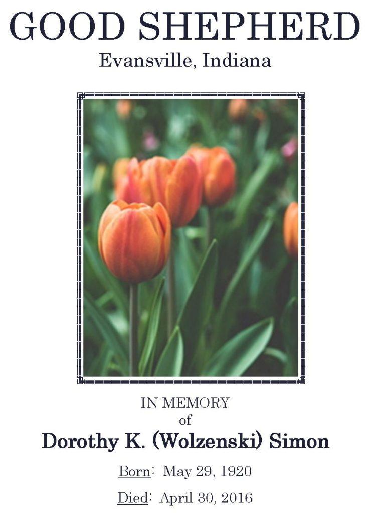2016-04-30 Funeral Pic - Dorothy K. (Wolzenski) Simon