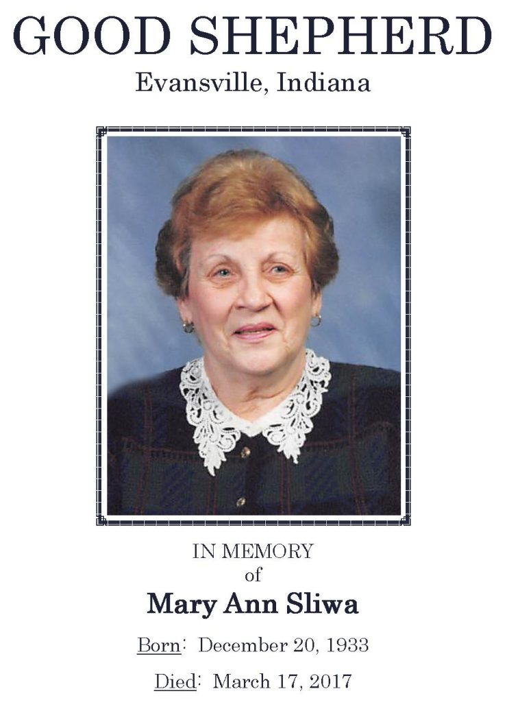 2017-03-17 Funeral Picture [Mary Ann Sliwa] Narthex Picture