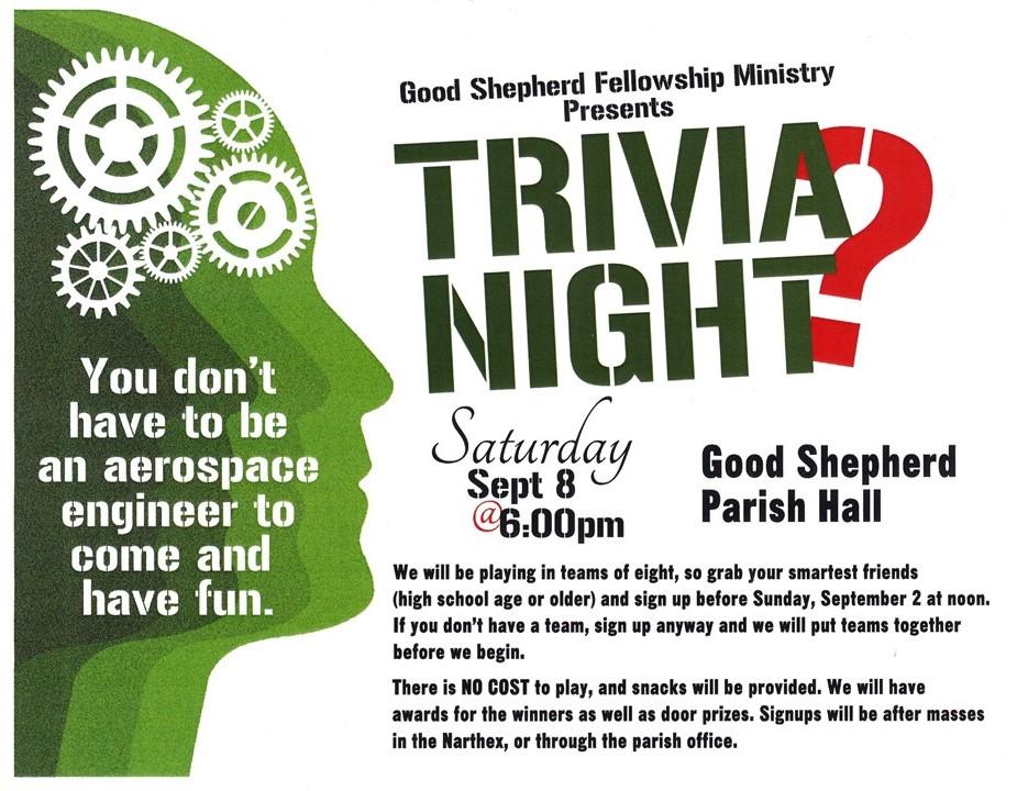 6 00 PM September 8 2018 Trivia Night Good Shepherd Catholic
